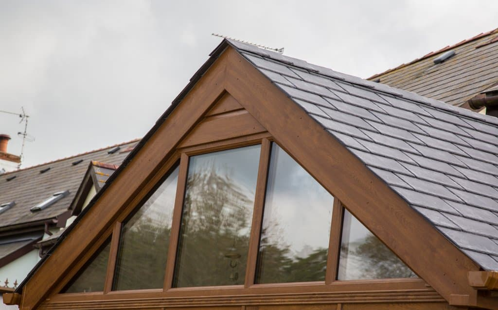 close up of tiled conservatory roof wooden beams