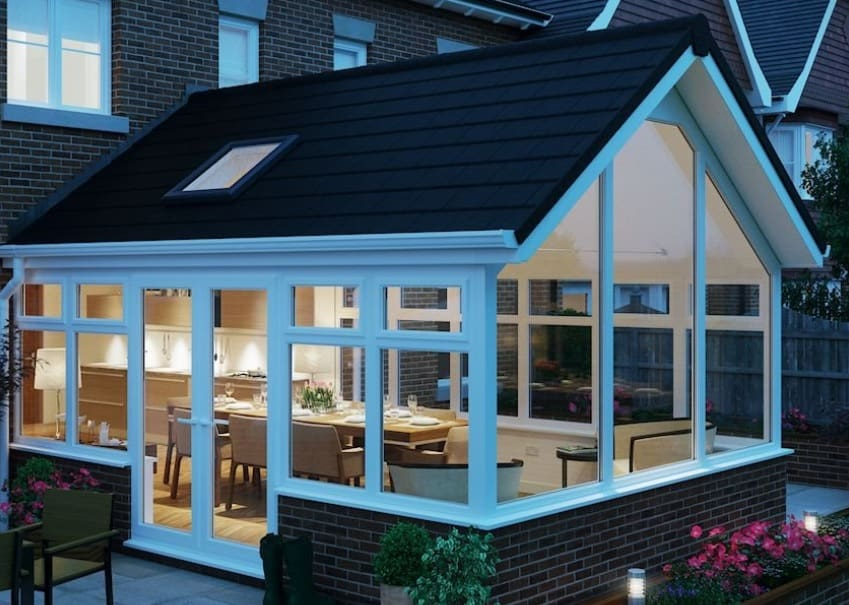 cad drawing of tiled conservatory roof dark tiles and skylight