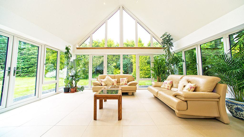 completed tiled conservatory roof inside view